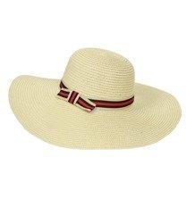 Eleganki kapelusz plażowy duże rondo taśma