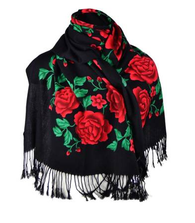 Elegancki piękny TKANY szal w róże FOLK
