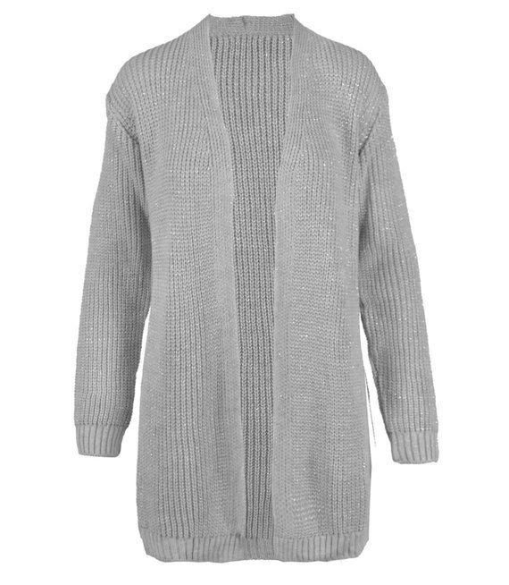 Modny sweter kardigan srebrna nitka