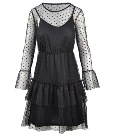 Stylowa tiulowa sukienka z baskinką